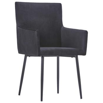vidaXL Blagovaonske stolice s naslonima za ruke 6 kom crne baršunaste