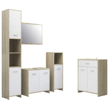 vidaXL 4-dijelni set kupaonskog namještaja bijeli i boja hrasta sonome