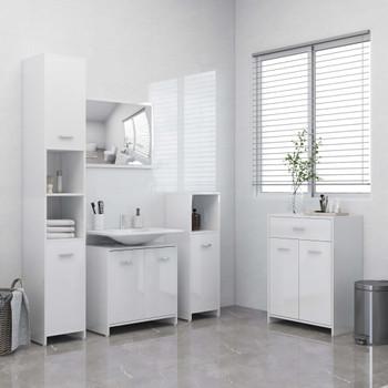 vidaXL 4-dijelni set kupaonskog namještaja visoki sjaj bijeli