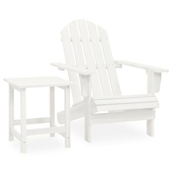 vidaXL Vrtna stolica Adirondack sa stolićem od masivne jelovine bijela