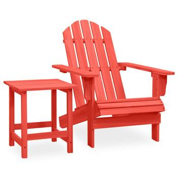 vidaXL Vrtna stolica Adirondack sa stolićem od masivne jelovine crvena