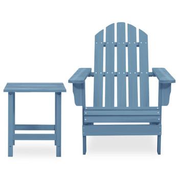 vidaXL Vrtna stolica Adirondack sa stolićem od masivne jelovine plava