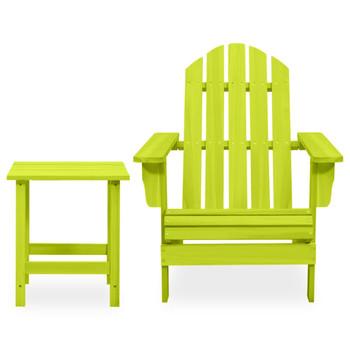 vidaXL Vrtna stolica Adirondack sa stolićem od masivne jelovine zelena