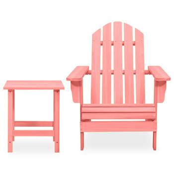 vidaXL Vrtna stolica Adirondack sa stolićem masivna jelovina ružičasta
