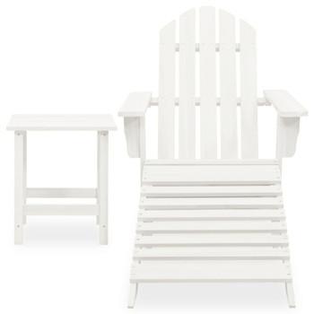 vidaXL Vrtna stolica Adirondack s otomanom i stolićem jelovina bijela