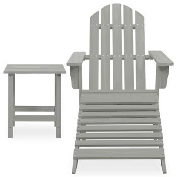 vidaXL Vrtna stolica Adirondack s otomanom i stolićem od jelovine siva