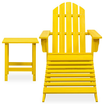 vidaXL Vrtna stolica Adirondack s otomanom i stolićem od jelovine žuta