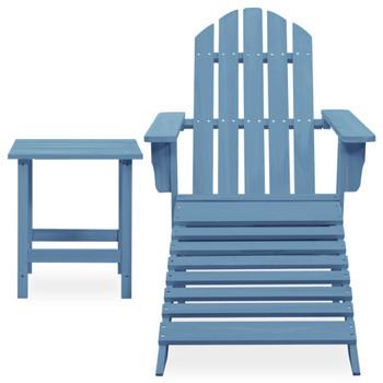 vidaXL Vrtna stolica Adirondack s otomanom i stolićem jelovina plava