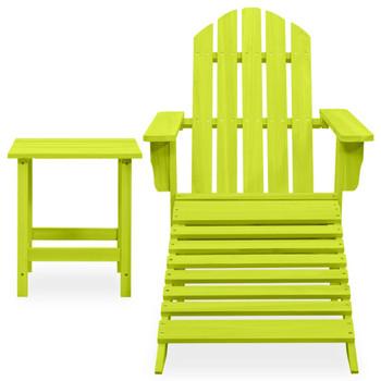 vidaXL Vrtna stolica Adirondack s otomanom i stolićem jelovina zelena