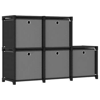 vidaXL Police za izlaganje s 5 kutija od tkanine 103x30x72,5 cm crne