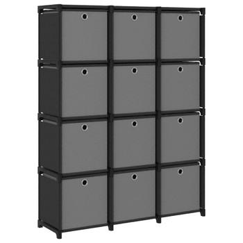 vidaXL Police za izlaganje s 12 kutija od tkanine 103x30x141 cm crne