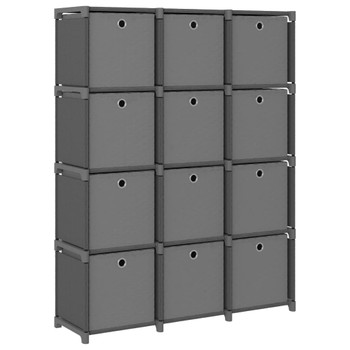 vidaXL Police za izlaganje s 12 kutija od tkanine 103x30x141 cm sive