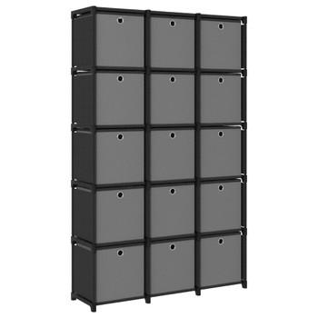 vidaXL Police za izlaganje s 15 kutija od tkanine 103x30x175,5 cm crne
