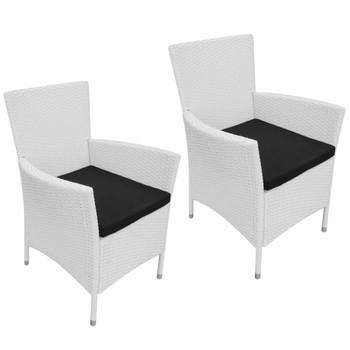 vidaXL Vrtne stolice 2 kom s jastucima poliratan krem bijele
