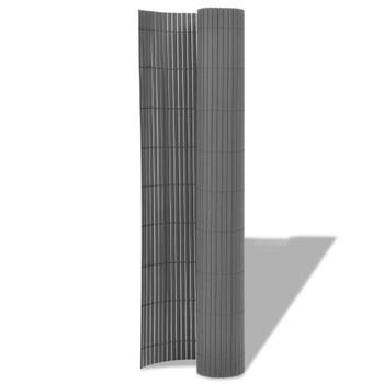vidaXL Dvostrana vrtna ograda PVC 90 x 500 cm siva