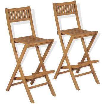 vidaXL Vrtne sklopive barske stolice 2 kom masivna tikovina