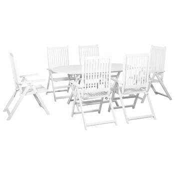 vidaXL 7-dijelni vrtni blagovaonski set masivno bagremovo drvo bijeli