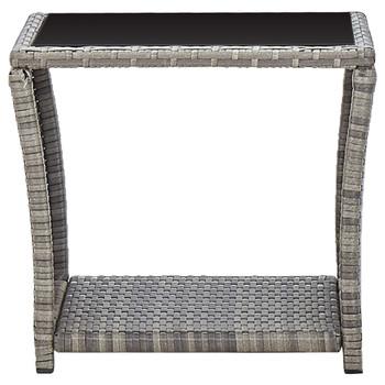 vidaXL Stolić za kavu sivi 45 x 45 x 40 cm od poliratana i stakla