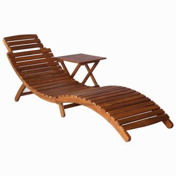 vidaXL Ležaljka za sunčanje sa stolićem masivno bagremovo drvo smeđa