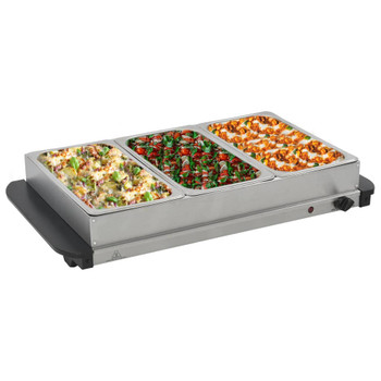 vidaXL Poslužavnik za bife od nehrđajućeg čelika 300 W 3 x 2,5 L