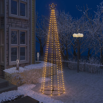 vidaXL Stožasto božićno drvce s 400 bijelih LED žarulja 100 x 360 cm
