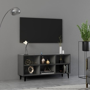 vidaXL TV ormarić s metalnim nogama sivi 103,5 x 30 x 50 cm