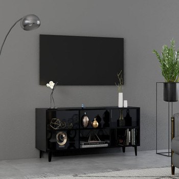 vidaXL TV ormarić s metalnim nogama visoki sjaj crni 103,5x30x50 cm