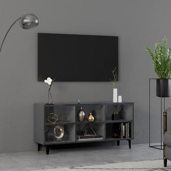 vidaXL TV ormarić s metalnim nogama visoki sjaj sivi 103,5x30x50 cm