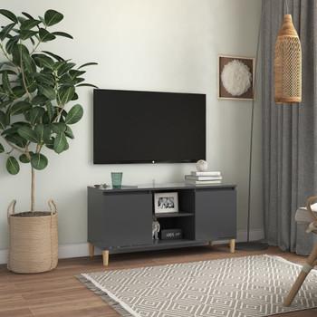 vidaXL TV ormarić s nogama od masivnog drva sivi 103,5 x 35 x 50 cm