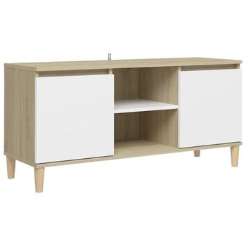 vidaXL TV ormarić s drvenim nogama bijeli i boja hrasta 103,5x35x50cm