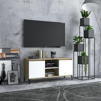 vidaXL TV ormarić s metalnim nogama 103,5 x 35 x 50 cm bijeli/hrast