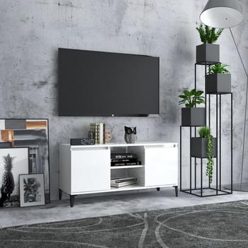 vidaXL TV ormarić s metalnim nogama visoki sjaj bijeli 103,5x35x50 cm