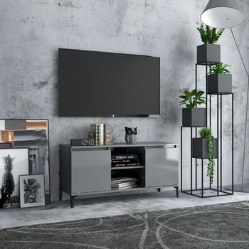 vidaXL TV ormarić s metalnim nogama visoki sjaj sivi 103,5x35x50 cm
