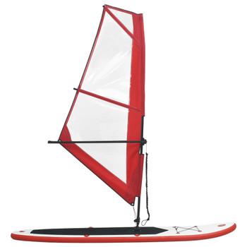 vidaXL Daska za veslanje stojeći na napuhavanje s jedrom crveno-bijela