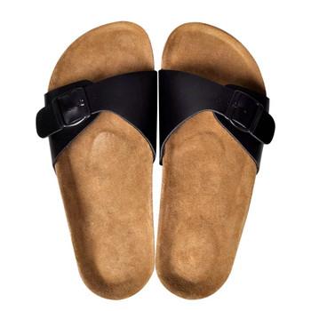 vidaXL Ženske sandale od biološkog pluta s 1 trakom crne veličina 37