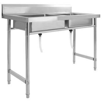 vidaXL Kuhinjski sudoper s dvostrukom kadicom od nehrđajućeg čelika