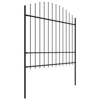 vidaXL Vrtna ograda s ukrasnim kopljima (1,5 - 1,75 ) x 1,7 m čelična crna