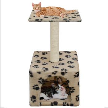 vidaXL Penjalica za mačke sa stupovima za grebanje od sisala 55 cm bež s uzorkom šapa