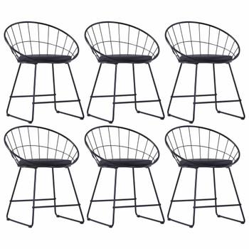 vidaXL Stolice sa sjedalima od umjetne kože 6 kom crne čelične