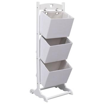 vidaXL Stalak s košarama na 3 razine bijeli 35 x 35 x 102 cm drveni