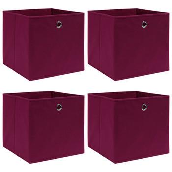 vidaXL Kutije za pohranu 4 kom tamnocrvene 32 x 32 x 32 cm od tkanine