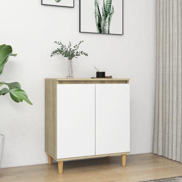 vidaXL Komoda s drvenim nogama bijela i boja hrasta 60x35x70cm iverica