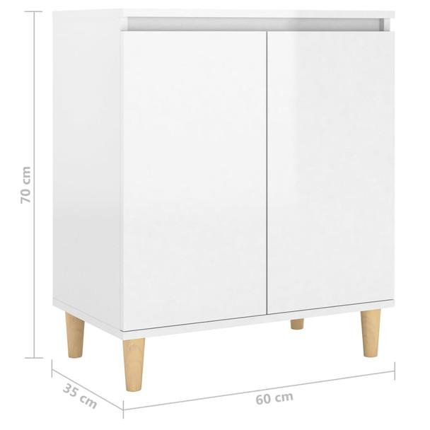 vidaXL Komoda s drvenim nogama sjajna bijela 60 x 35 x 70 cm iverica