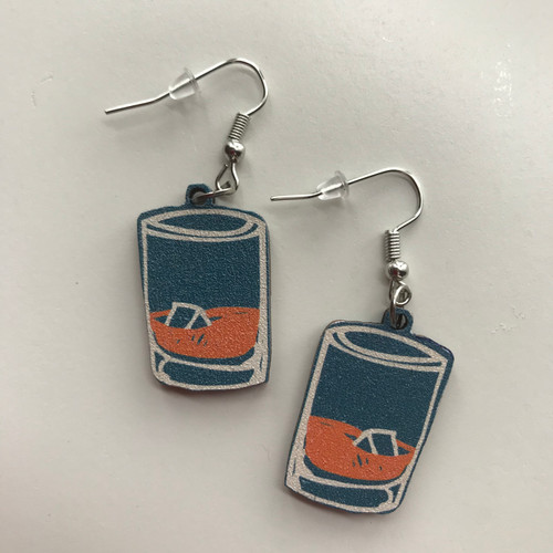 Bourbon Rocks Glass Dangle Earrings