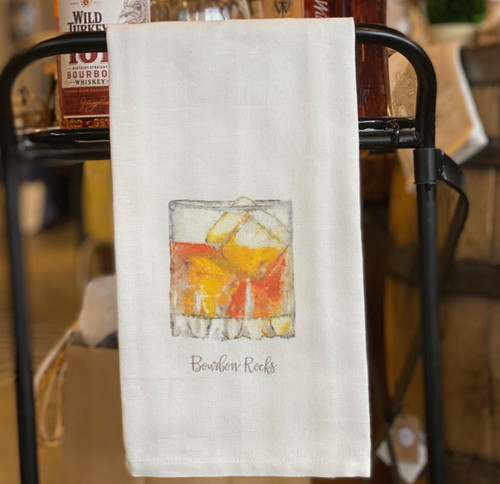 Bourbon Rocks bar towel