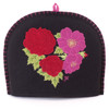 Red and pink roses tea cosy, black wool, hand-embroidered