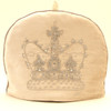 Velvet diamante crown tea cosy, cream, hand-embroidered