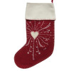 Heart Christmas stocking, red and cream wool