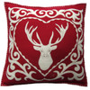 Stag cushion, Christmas collection, red and cream wool