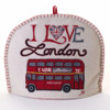 I Love London bus tea cosy, cream wool